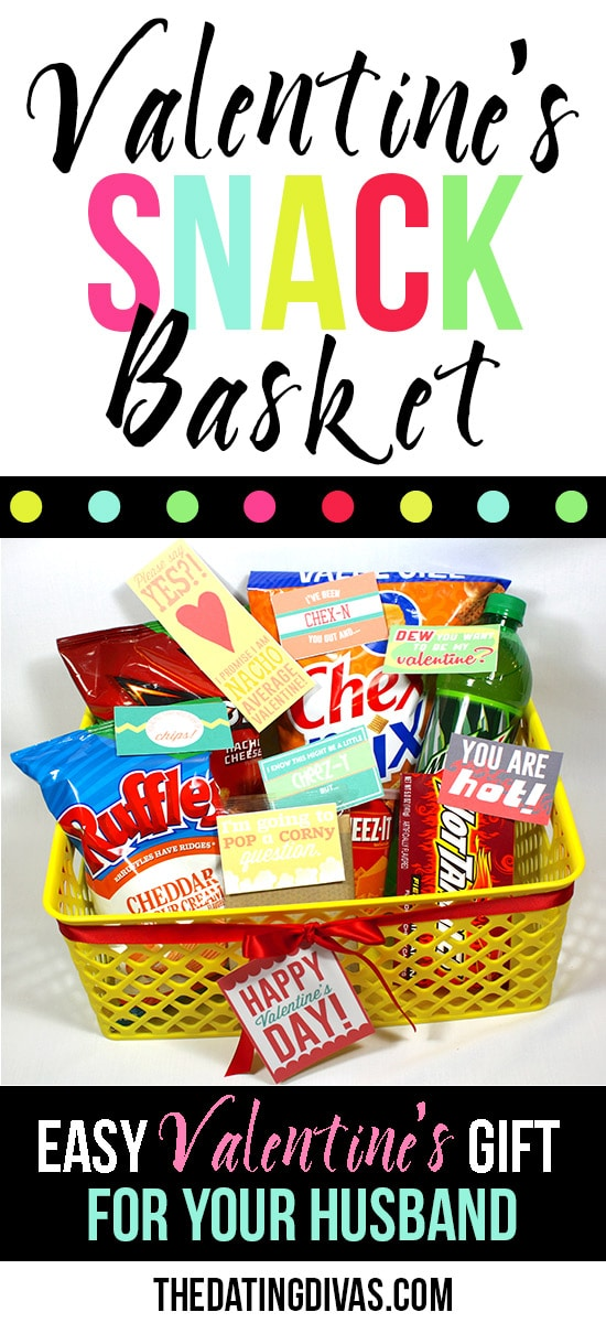 Cute Valentine's Snack Gift Basket for Hubby