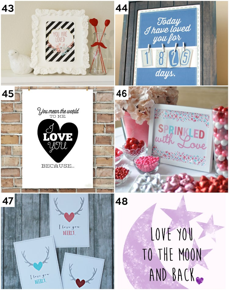 Cute DIY Printable Valentine's Wall Art and Gifts