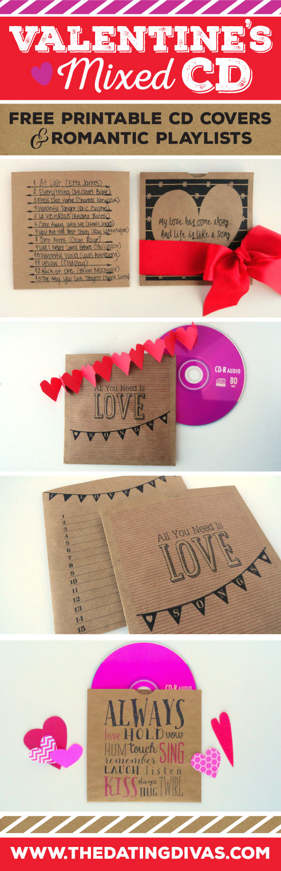 Valentines Day Mixed CD Printable Covers and Romantic Playlist www.TheDatingDivas.com
