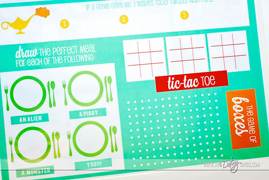 DIY mealtime placemat for kids with free printables back side