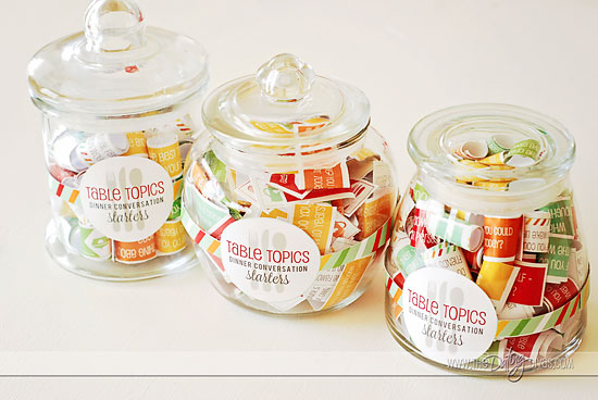 family dinner conversation starters jar - gift idea