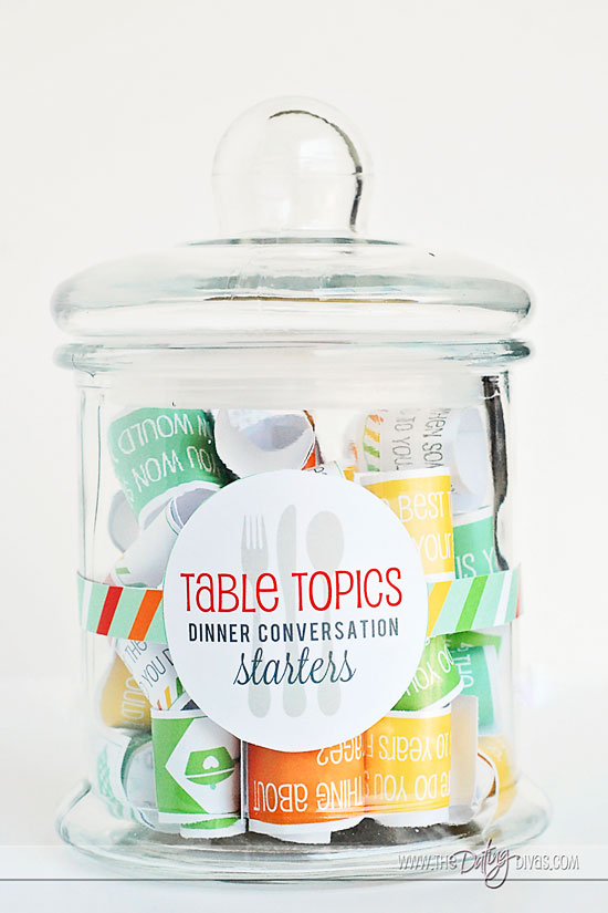 family dinner conversation starters DIY jar with label