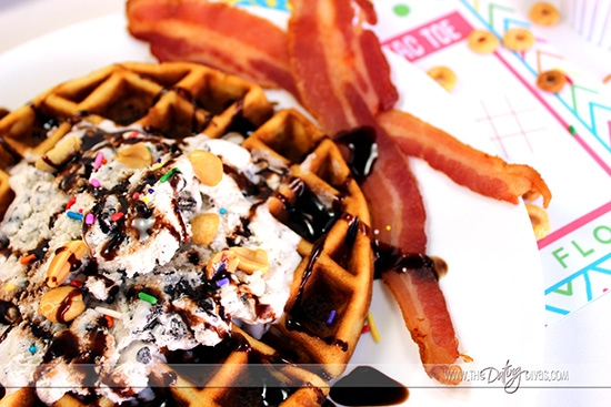Waffles and Ice Cream for Summer Breakfast