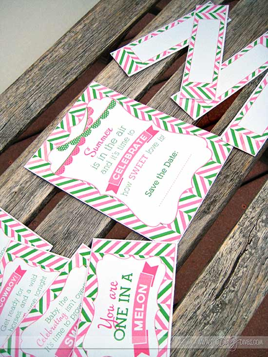 Watermelon Date Night Printable Bundle- Invite, Food Labels, and Love Note Cards