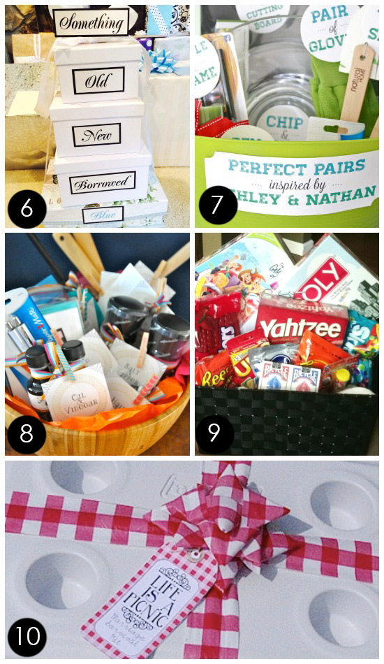 Diy Bridal Shower Gift Basket Ideas : for a wedding or bridal shower? Fill a gift basket {or stacked gift ...