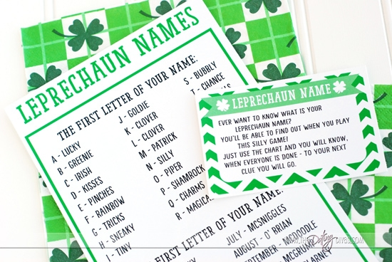 What is Your Lephrecaun Name activity for a St. Patrick's Day Scavenger Hunt