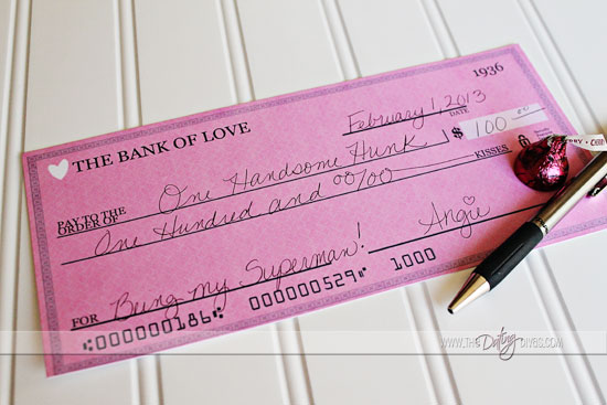 Printable Check for 100 Kisses