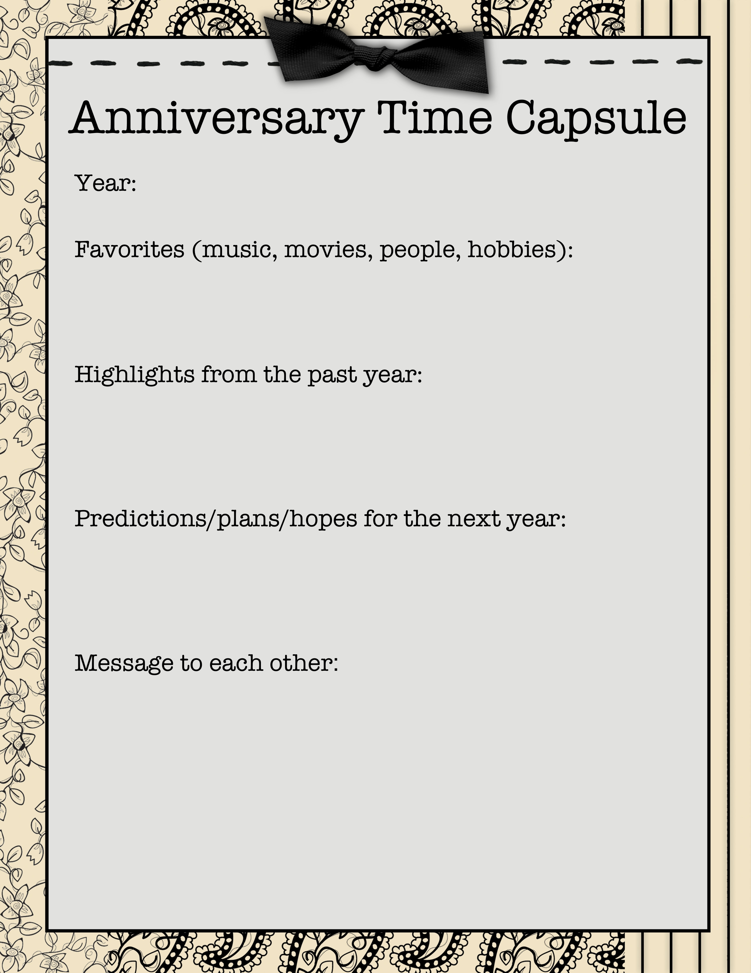 New Year Time Capsule Worksheet