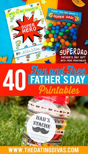 These free Fathers Day DIY ideas include printables like Father's Day cards, a Father's Day printable questionnaire, and lots of Father's Day printables for kids! #FathersDay #TheDatingDivas #FathersDayDIY #FathersDayPrintables #FreePrintables
