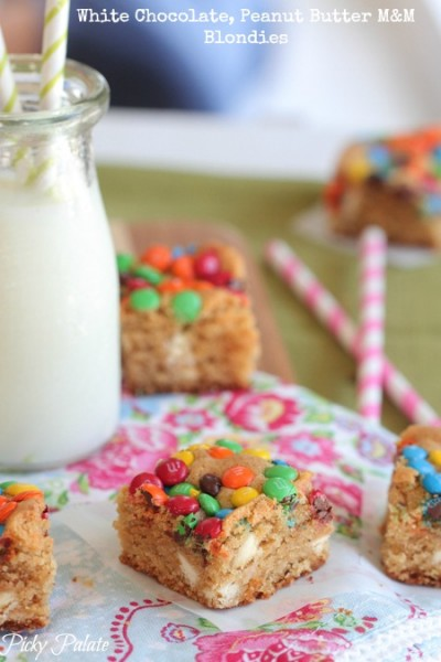 cami-legally blonde date night-White Chocolate Peanut Butter M and M Blondies-15t