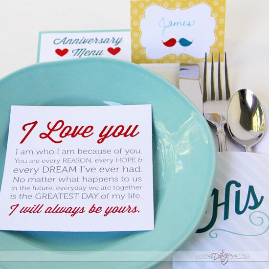 anniversary dinner printables