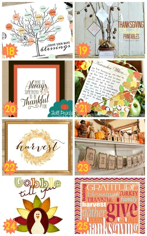 excellent thankgiving decoration printables