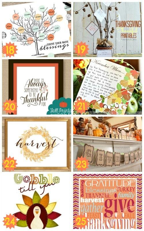 excellent thankgiving decoration printables
