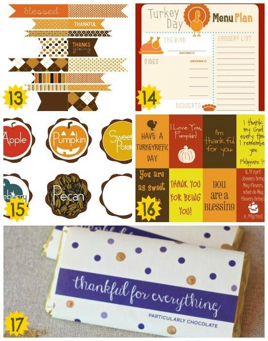 fantastic thanksgiving food printables
