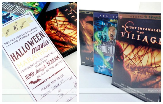 halloween movie marathon invite and movies