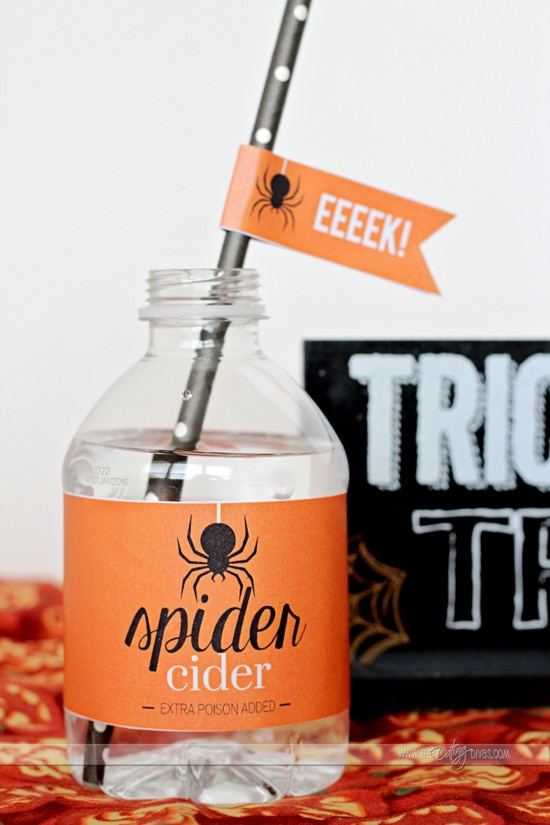 halloween straw and water bottle label