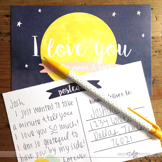 I love you to the moon and back love note.