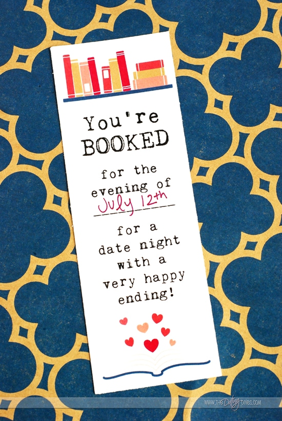 Library Date Night Bookmark Invitation