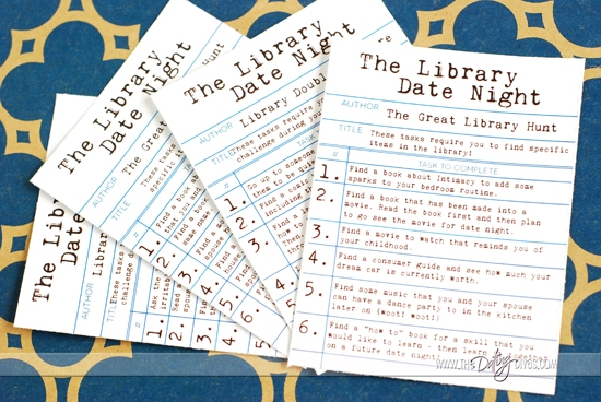 Library Date Night Task Card Choices