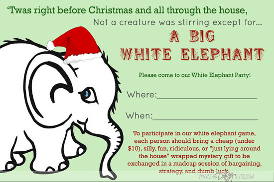 White Elephant Party – Elephant Party Invitations