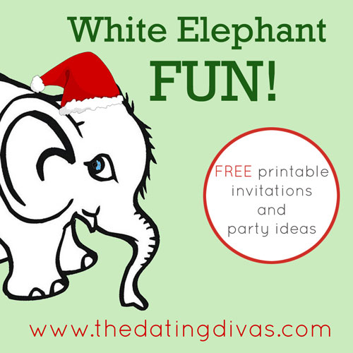 white elephant party, party invitations