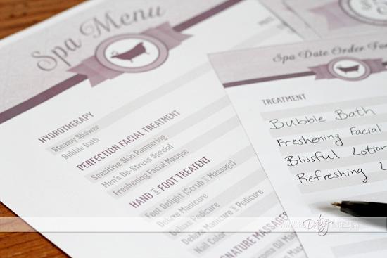 spa date night menu
