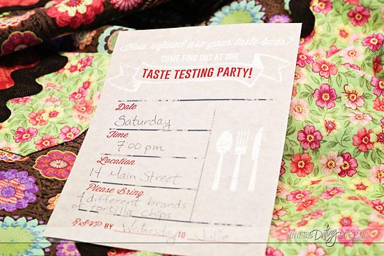 taste testing date invitation