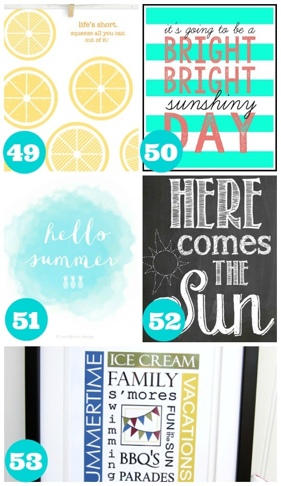 Awesome Summer Wall Art Printables