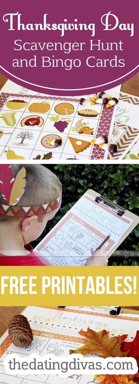 thanksgiving day bingo cards scavenger hunt