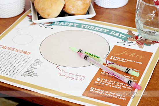 thanksgiving kids printable placemat