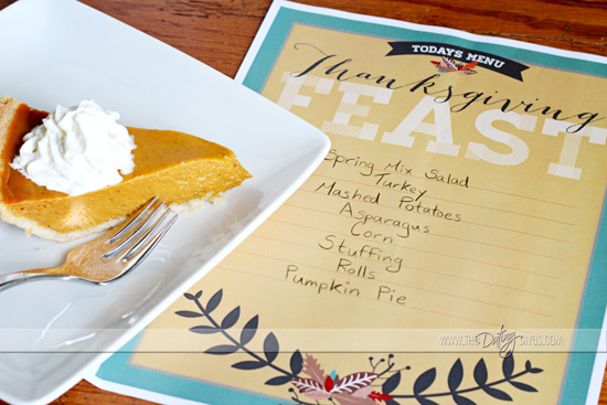 thanksgiving printable menu