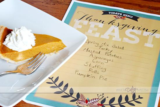 thanksgiving printable menu