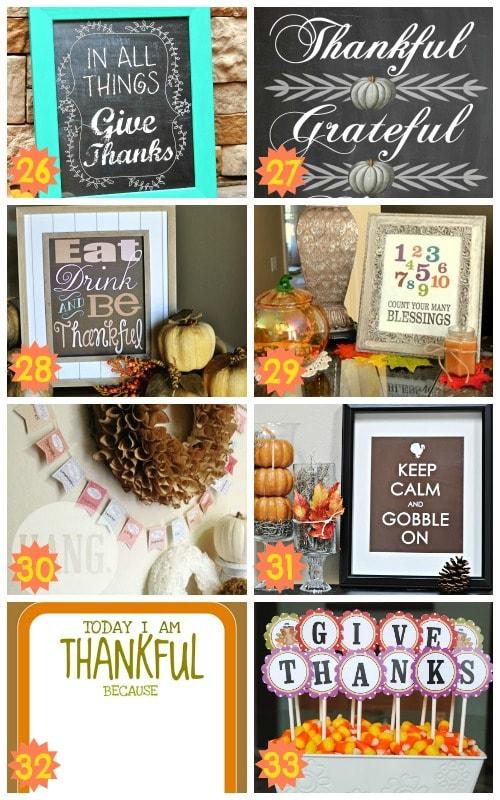 wonderful thanksgiving decor printables